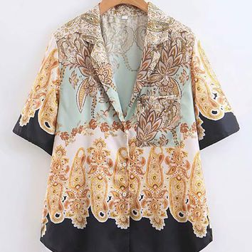 Tribal Print Open Front Blouse