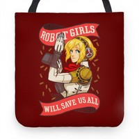 ROBOT GIRLS WILL SAVE US ALL TOTE