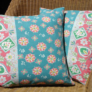 Vintage Feedsack Pillow Covers Floral Pillow by KaysGeneralStore