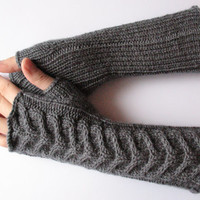 "FALL SALE Fingerless Gloves Long Dark Gray 11"" Mittens Arm Warmers, Acrylic Wool"