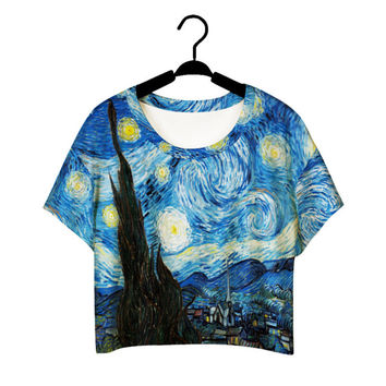 Harajuku Style Girls Van Gogh Leisure Crop Top  Graffiti Painting women ntage t shirt Casual Tee