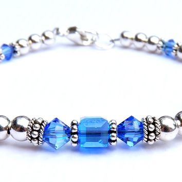 Solid Sterling Silver September Birthstone Bracelets in Simulated Blue Sapphire Swarovski Crystals