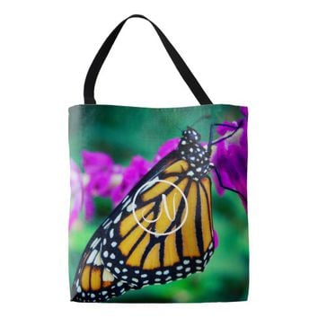 Monarch butterfly photo custom monogram tote bag