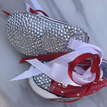 Baby Bling Newborn Infant Red Jeweled Hi-Top Tennis shoes booties