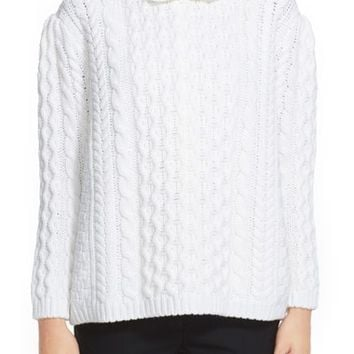 Women's Simone Rocha Cable Knit Sweater with Jeweled Neckline,