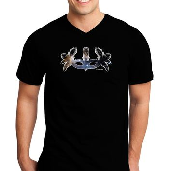Galaxy Masquerade Mask Adult Dark V-Neck T-Shirt by TooLoud