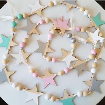 INS Nordic Wooden Beads Stars Hanging Banners Girl Baby Room Wall Hanging Decorations