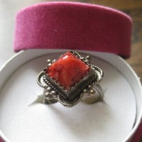 Vintage Silver ring, red coral Berber ring, coral silver ring