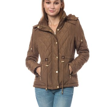 LE3NO Womens Quilted Fleece Lined Puffer Jacket with Detachable Hoodie