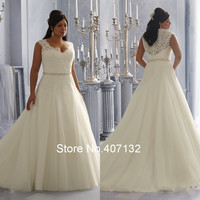 Fancy  Sexy See Through Beading Lace Organza White Ivory A-Line Plus Size Wedding Dresses New Arrival