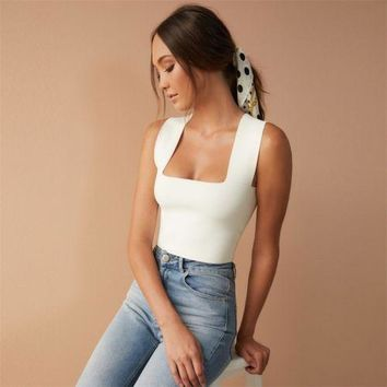 Brand New Women Fashion Summer Square Collar Tanks Tops Vest Casual Camisole Short Top Clothes Outfits