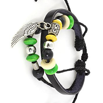 Angel Wing Charm Bracelet Black Leather BD44 Green Wooden Beaded Cuff Bangle Fashion Jewelry