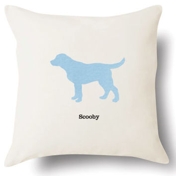 """Personalized Labrador Retriever Pillow - Off White Flax Linen - 18x18"""" -  Name or Text Embroidered - Pet Silhouette Appliqué Pillow"""