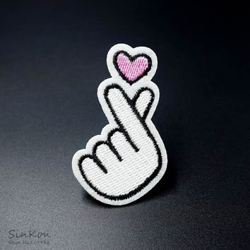 LOVE Size:5.2x5.7cm Iron On Patch Sewing On Embroidered Applique Fabric Patch for Jacket Badge Clothes Stickers