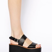River Island Black 2 Strap Flatform Mid Heeled Sandals