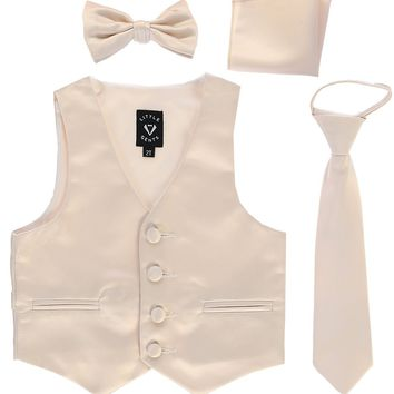 Champagne Satin Boys 4-pc Vest Set w. Ties & Pocket Square 3M-14