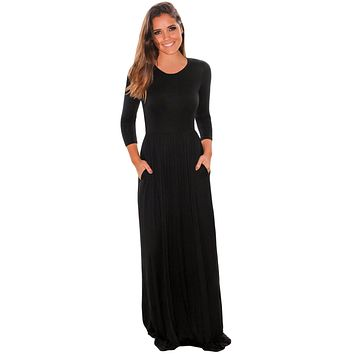 Chicloth Black Pocket Design 3/4 Sleeves Maxi Dress