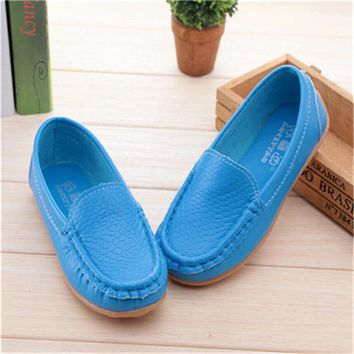 New Fashion Kids shoes all Size 21- 36 Children PU Leather Sneakers For Baby shoes Boys/Girls Boat Shoes Slip On Soft 5 color