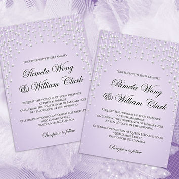 DIY Printable Wedding Invitation Card Template | Editable MS Word file | 5 x 7 | Instant Download | Silver Diamond Shower Lavender
