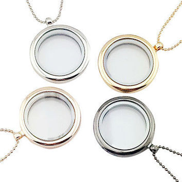 1pcs Floating Charm Living Memory Glass Round Locket Charms Necklace Pendant EW