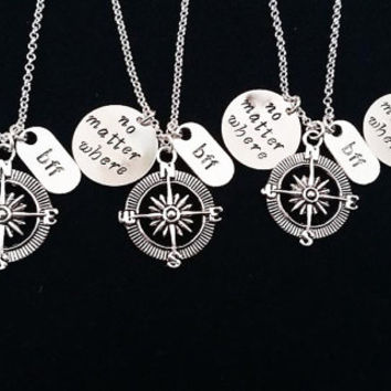 Three Best Friends Necklaces Compass No Matter Where Personalized Jewelry Friendship graduation Gift Long Distance Relationship 3 bff