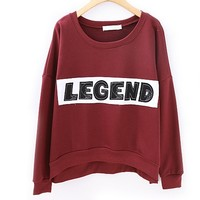ZLYC Embroidery LEGEND Casual Sweatshirt