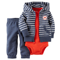 Carter's Boys 3 Piece Dark Blue/White Striped French Terry Hooded Zip Up Cardigan, Matching Pant and Red Bodysuit