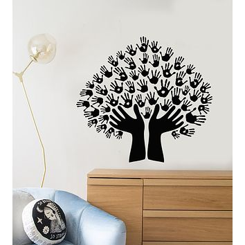 Vinyl Wall Decal Cartoon Hands Family Tree Stains For Kids Room Stickers (3504ig)