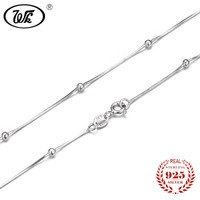 "WK NEW Pure 925 Sterling Silver Necklace Snake Chain With Ball 16"" 18"" Long Solid S925 Necklaces Woman Girls Party Gift W1 NA015"