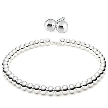 Round Ball Bead Strand Necklace Stud Earring High Sterling Silver