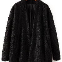 'The Elena' Black Wool Fur Coat