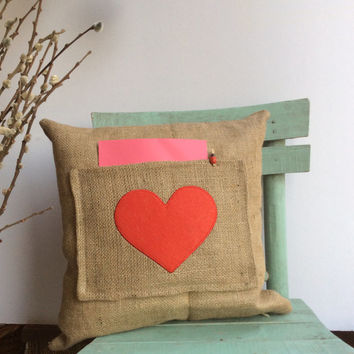 "Valentine's Day, Hessian/Burlap pillow cover, Pocket Pillow, Heart, Message Pillow, Appliqued and pillow size 16""X 16"""