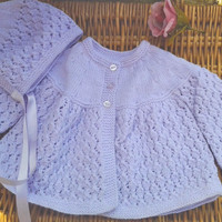Newborn Baby Girl's traditional lilac mauve Diamond lace matinee jacket and bonnet pram outfit. Diamond Jubilee inspired.