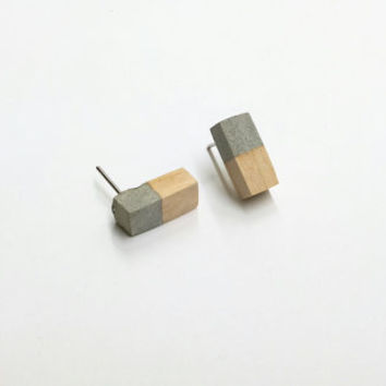 SALE - Concrete and wood earrings