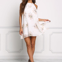 Off White Layered Floral Shift Dress