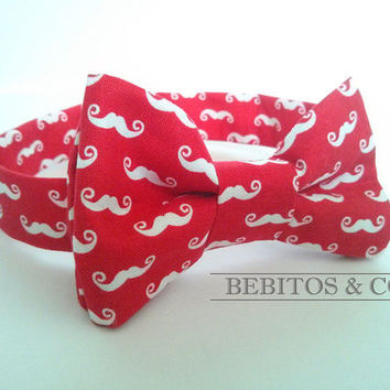 Boys Bow Tie, Red and White Mustache Bow Tie, Preppy Bow Tie, Bowtie, Boy's bow tie