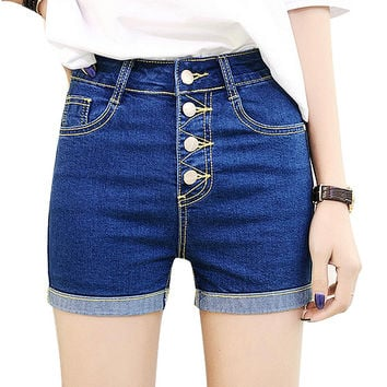 2016 Denim Shorts Female Fashion Solid Single Breasted Washow High Waist Stretch All-match Shorts Plus Size Jeans Shorts
