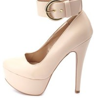 Gold-Buckled Ankle Strap Platform Pumps by Charlotte Russe