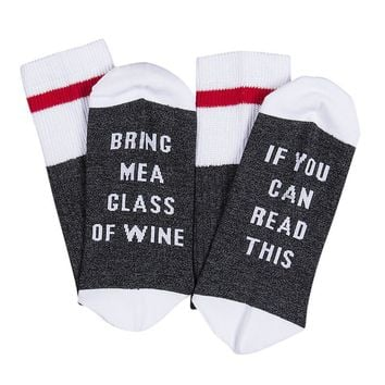 Custom Wine Socks If You Can Read This Bring Me a Glass of Wine Gray White Red
