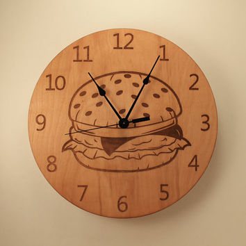 Cheeseburger laser cut clock Wood clock Wall clock Wooden wall clock Home clock Kitchen clock Hamburger clock Dining room Hamburger decor