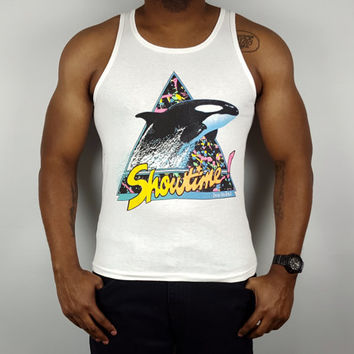 Vintage Seaworld Tank Shamu Killer Whale Orca Showtime Bro Tank Oversized Tank Top Vintage Neon Tank Top Racerback Black White Yellow Orange