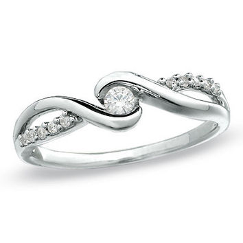 1/10 CT. T.W. Diamond Swirl Promise Ring in 10K White Gold - View All Rings - Zales