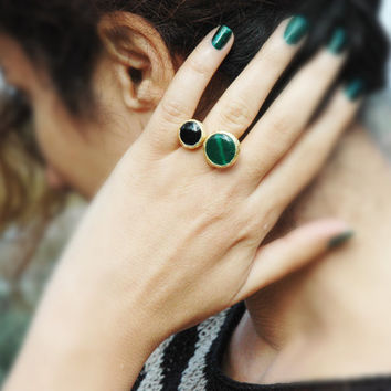 Mystic Green Jade and Black Onyx Ring - Gemstone Ring - Gold Color Ring - Bezel Ring - Stacking Ring - Coctail Ring - Adjustable Ring