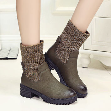British Brush Color Leather Wool Martin Boots