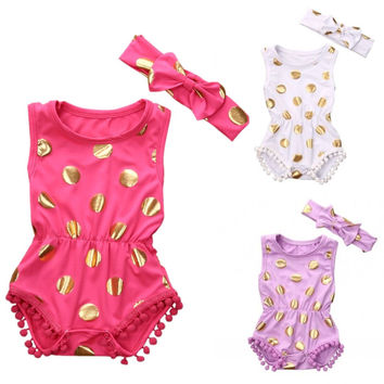 2Pcs/Set  Gilding Newborn Baby Girl Clothes Polka Dot Tassel Romper Sleeveless Jumpsuit Sunsuit +Headband Outfits Set