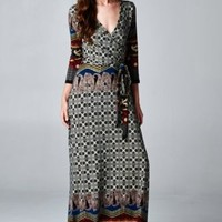 WOMENS CASUAL FULL-LENGTH MAXI DRESS PAISLEY PRINT 3/4 SLEEVE S M L