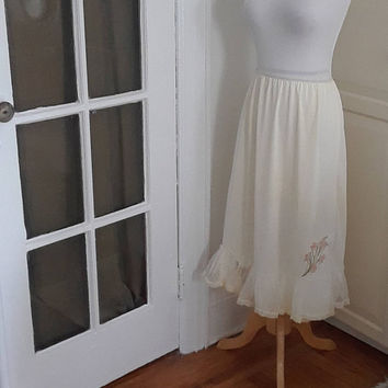 1950s Melodee Lane Half Slip, Embroidered, Tulle, Lace, Off White, Size L
