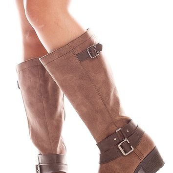 BROWN SIDE BUCKLE SIDE ZIPPER LOOK FAUX LEATHER MATERIAL BOOTS