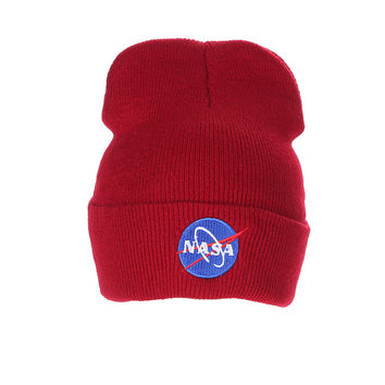 Nasa Beanie Mens & Womens Warm Winter Fashion Unisex Ski Cap Outdoor Knitted Red Cuffed Skully Hat