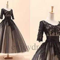 Custom Vintage Victorian Dresses Long Applique Lace Beaded Black Wedding Dress Formal 1/3 Sleeves Bridal Gowns Fashion Party Dresses